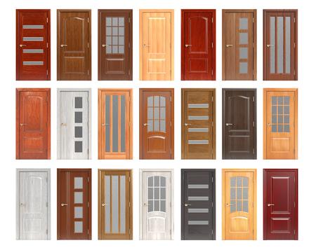 Ensemble de portes en bois isolé sur fond blanc. illustration 3d Banque d'images