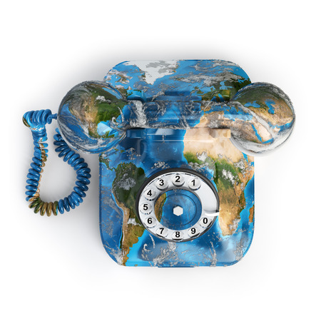 world receiver: Global communication concept. Telephone with erth texture isolated on white, Elements of this image furnished by NASA. 3d illustration Stock Photo