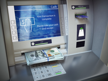 cash money: ATM machine and money. Withdrawing dollar banknotes. 3d illustration Stock Photo
