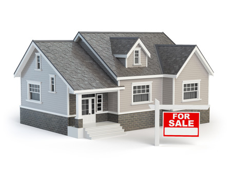 House and for sale real estate sign isolated on white. 3d illustration Stock Photo