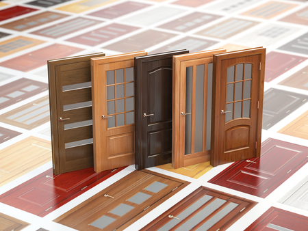 wood panel: Different wooden doors on catalog with samples. Interior design and construction concept. 3d illustration Stock Photo