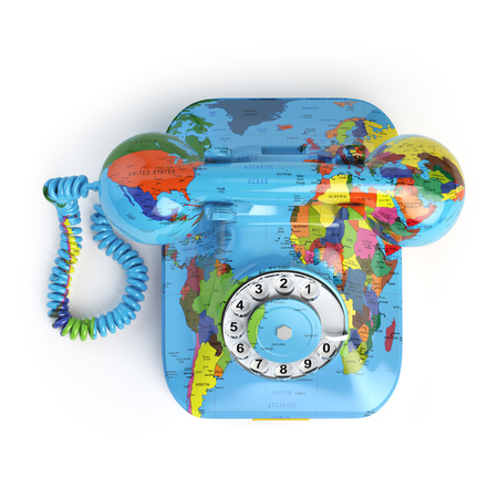 world receiver: Global communication concept. Telephone with erth texture isolated on white. 3d illustration