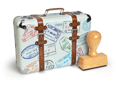 Travel or turism concept. Old suitcase with visa stamps isolated on white. 3d illustration Stock Photo