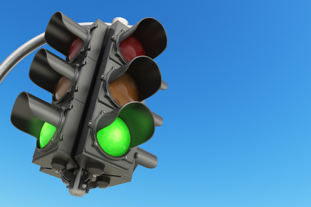 red traffic light: Traffic light with green color on blue sky background. 3d illustration
