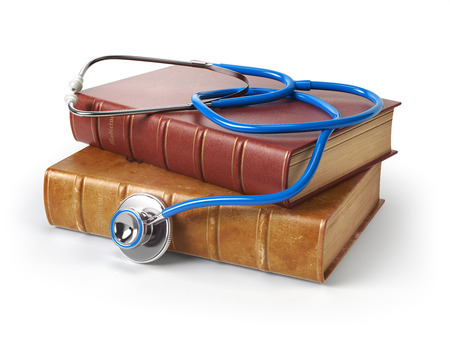 books isolated: Stethoscope on medical books isolated on white, Medicine and medical education concept. 3d illustration