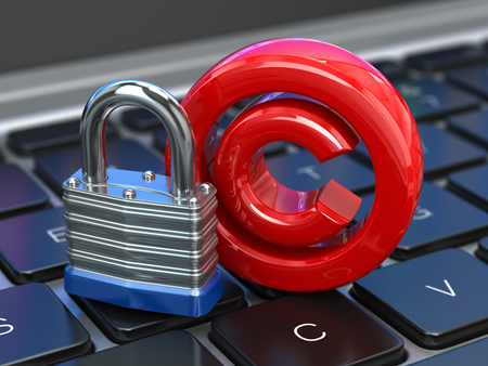 Copyright sign with lock on the laptop keyboard. Intellectual property protection concept. 3d illustration Stock Photo