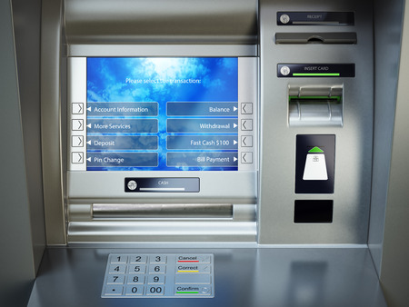 ATM machine. Automated teller bank cash machine. 3d illustration Stock Photo