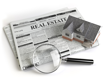 Real estate classifieds ads newspaper with house and magnifying glass isolated on white. 3d illustration