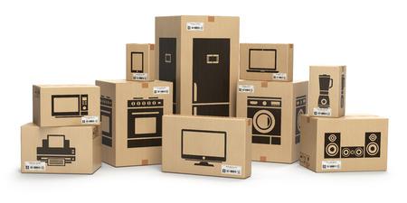 Huishoudenkeukentoestellen en huiselektronika in dozen op wit worden geïsoleerd dat. E-commerce, internet online winkelen en levering concept. 3D illustratie Stockfoto
