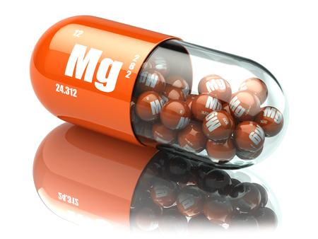 マンガン マグネシウム Mg 要素錠剤。栄養補助食品します。ビタミン カプセル。3 d イラストレーション