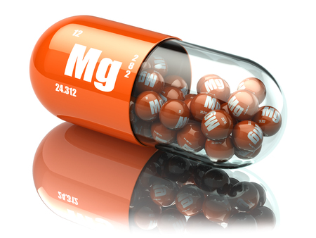 Mangaan magnesium Mg element pil. Voedingssupplementen. Vitamine capsules. 3d illustratie