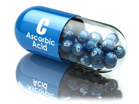 Gélule ou pilule de vitamine C. Acide ascorbique. Compléments alimentaires. Illustration 3d Banque d'images - 77158597
