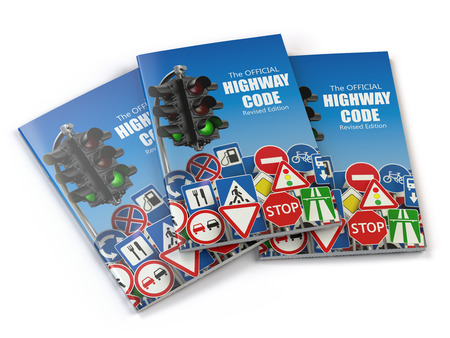 preparations: Highway code book.  Book of traffic rules and law with traffic road sign and traffic light. Preparation for exam or driving test concept. 3d illustration