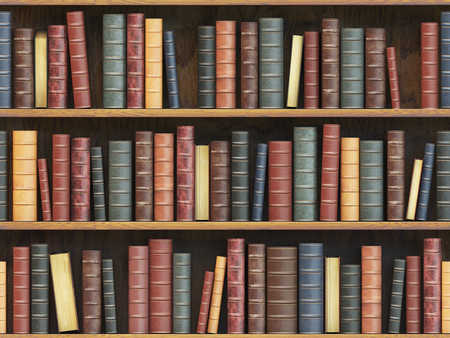 Vintage books on bookshelf old books tiled seamless texture