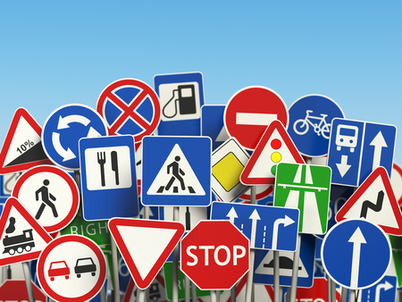 overtake: Traffic road signs on the sky background. 3d illustration Stock Photo
