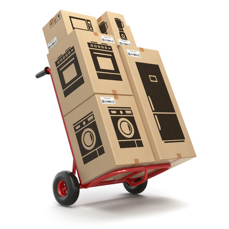 Sale and delivery of household kitchen appliaces concept. Hand truck and cardboard boxes with appliaces. 3d illustration Stock Photo