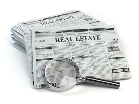 Real estate classifieds ads newspaper  and magnifying glass isolated on white. 3d illustration Stock Photo