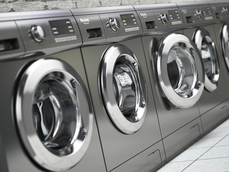 Row of washing machines in a public laundromat. 3d illustration Фото со стока