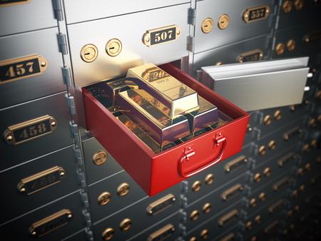 Open safe deposit box with golden ingots. Financial banking investment concept. 3d illustration