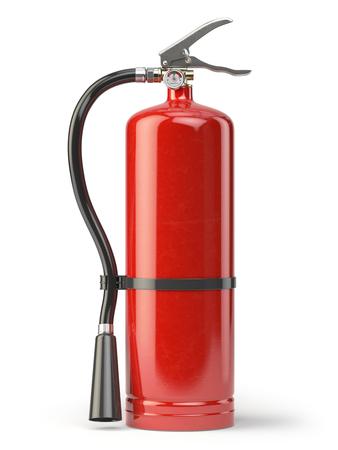 suppression: Fire extinguisher isolated on white background. 3d illustration Stock Photo