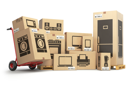 Household kitchen appliances and home electronics in carboard boxes isolated on white. E-commerce, internet online shopping and delivery concept. 3d illustration Foto de archivo