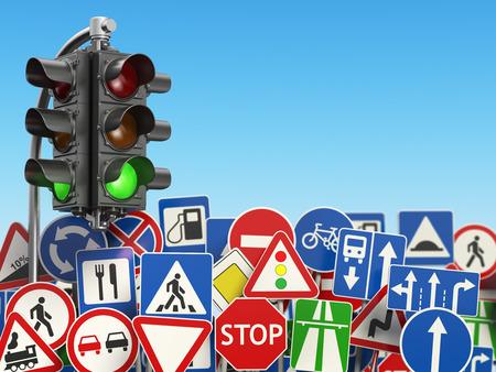 Trafic des panneaux routiers sur le fond du ciel. Illustration 3d