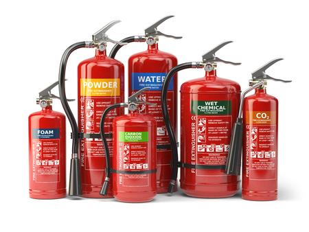 消火は、白い背景で隔離。消火器の様々 なタイプ。3 d イラストレーション