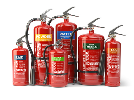Fire extinguishers isolated on white background. Various types of extinguishers. 3d illustration