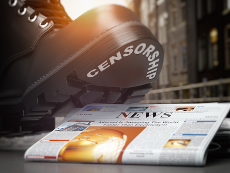 Media censorship and right of freedom of speech concept. Boot with text censorship  and pile of newspaper. 3d illustration Stock Photo
