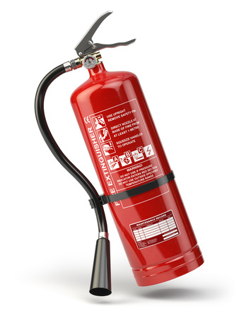 inflammable: Fire extinguisher isolated on white background. 3d illustration Stock Photo