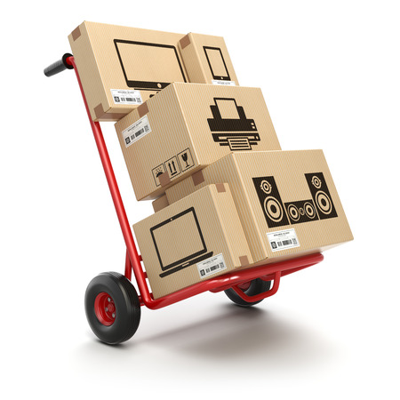 Sale and delivery of computer technics concept. Hand truck and cardboard boxes with PC, laptop, computer monitor and printer isoolated on white. 3d illustration