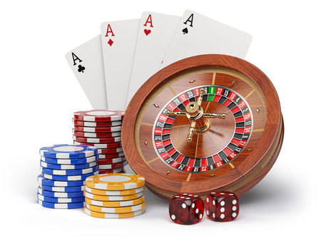 hazard: Casino o gambling concept. Roulette, casino chips, cards and dice isolated on white background. 3d illustration