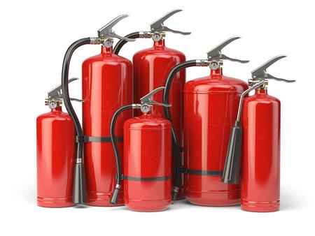 Extintores aislados sobre fondo blanco. Varios tipos de extintores. 3d ilustración Foto de archivo - 79075266