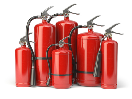 Fire extinguishers isolated on white background. Various types of extinguishers. 3d illustration