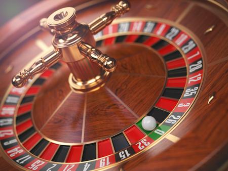 Casino roulette wheel background. Zero. 3d illustration