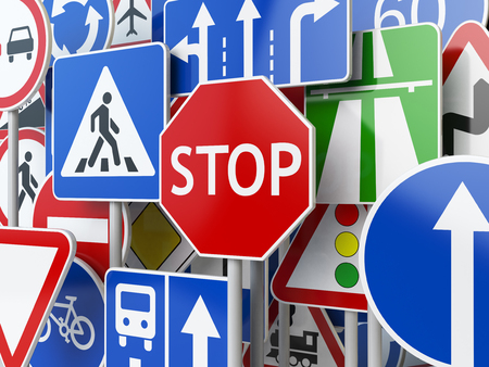 overtake: Stop. Traffic road signs on the sky background. 3d illustration