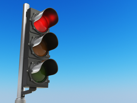 Traffic light with red color on blue sky background. Stop concept. 3d illustration Stock Photo