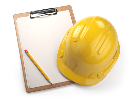 Hard hat with clipboard isolated on white background. Construction concept. 3d illustration