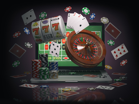Online casino concept. Laptop with roulette, slot machine, casino chips and playing cards isolated on black background. 3d illustration