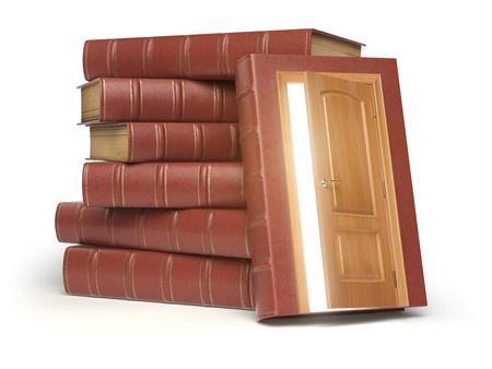 Educazione, conoscenza e concetto di lettura. Mucchio di vecchi libri e porta rossi con luce isolata su bianco. Illustrazione 3D Archivio Fotografico - 79797586
