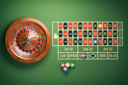 緑のテーブルにカジノチップを搭載したカジノ ルーレットのホイール。ギャンブルの背景。3 d イラストレーション 写真素材