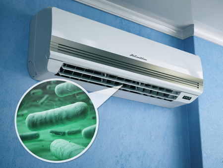 Air conditioner and bacterias llebsiella or legionella pneumophila. 3d illustration 스톡 콘텐츠