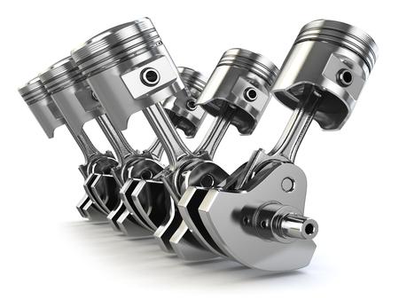 V6 engine pistons and crankshaft isolated on white background. 3d illustration Stock Photo