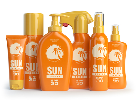 Sun screen cream,  oil and lotion containers. Sun protection and suntan cosmetics isolated on white background. 3d illustration Stock Photo