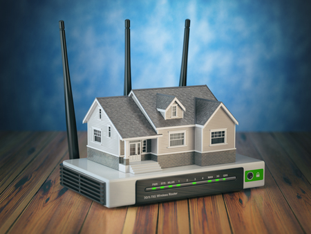wireless lan: Home wireless network. House and wi-fi router on wooden table and blue background. 3d illustration Stock Photo