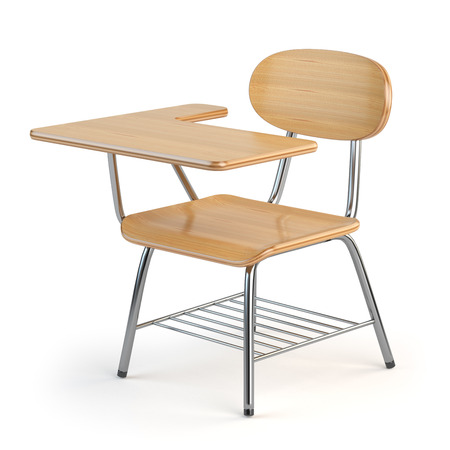 Wooden school desk and chair isolated on white. 3d illustration Stock Photo