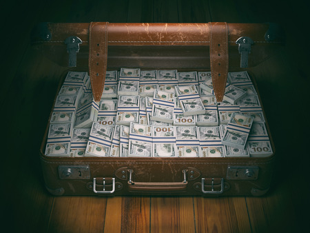pack of dollars: Vintage suitcase full of money. Business emigration concept background. 3d illustration Stock Photo