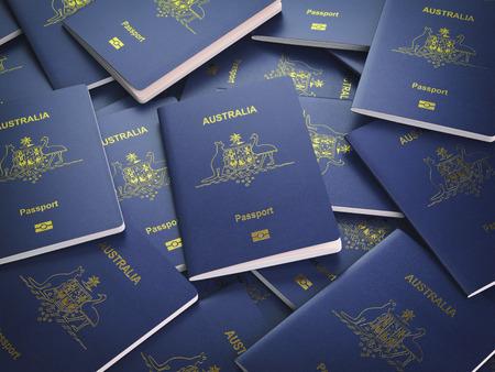 オーストラリアの背景のパスポート。移民や旅行のコンセプトです。オーストラリアのパスポートの山。3 d イラストレーション