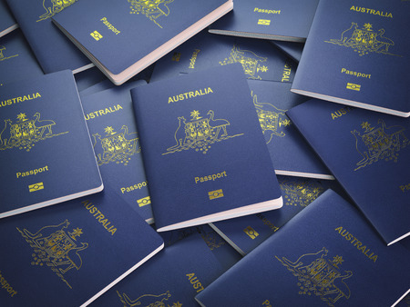 Passports of Australia background. Immigration or travel concept. Pile of australian passports. 3d illustration Stok Fotoğraf