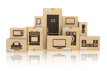 E-commerce, internetowe zakupy online i koncepcja dostawy. Urządzenia gospodarstwa domowego i technika domu w pudełkach na białym tle. 3d ilustracja